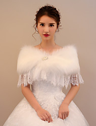cheap -Faux Fur Lace Wedding Party / Evening Women's Wrap With Rhinestone Beading Capelets