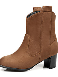 Women's Shoes Nubuck leather Leatherette Fall Winter Fashion Boots Bootie Boots Chunky Heel Round Toe Booties/Ankle Boots Split Joint For