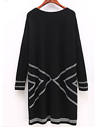 Women's Plus Size Casual/Daily Vintage Chinoiserie Loose Dress,Striped Round Neck Above Knee Long Sleeves Polyester Spandex All Seasons