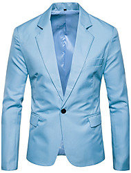 cheap -Men's Weekend Business Street chic Wool Slim Blazer-Solid Colored Shirt Collar