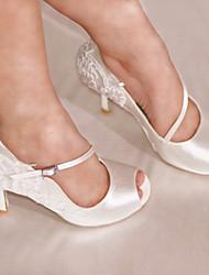 "Women's Salsa Lace Satin Sandal Heel Party Lace Buckle Customized Heel White 3"" - 3 3/4"" Customizable"