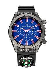 Homens Relógio Esportivo Relógio de Pulso Relógio Casual Chinês Quartzo Bússula Silicone Borracha Banda Casual Preta