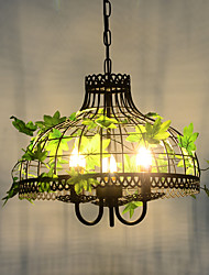 American Creative Personality Wrought Iron Cage Walnut Industrial Wind Restoring Ancient Ways Of Lamps And Lanterns Dining Room In The Green Plant L