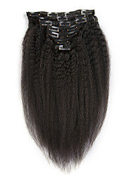 cheap -Kinky Straight 100G 7 Pieces/Lot Clip In Hair Extensions Brazilian Hair For Women High Temperature Hairs
