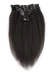 Kinky straight 100g 7 pièces / lot clip en extensions de cheveux cheveux brésiliens pour femmes cheveux à haute température