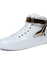 Для мужчин обувь Материал на заказ клиента Осень Удобная обувь Кеды Шнуровка На липучках Назначение Повседневные Белый Черный Красный