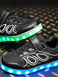 cheap -Boys' Shoes Fabric Leatherette Net Fall Winter Light Up Shoes Comfort Sneakers With LED Lace-up For Casual Outdoor Blushing Pink Blue