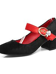 Damen Schuhe Nubukleder Herbst Winter Komfort Neuheit High Heels Blockabsatz Spitze Zehe Schnalle Für Kleid Party & Festivität Schwarz