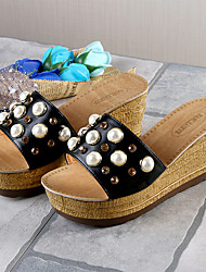 cheap -Women's Shoes PU Summer Comfort Slippers & Flip-Flops Walking Shoes Wedge Heel Round Toe Beading for Casual Black Beige Green
