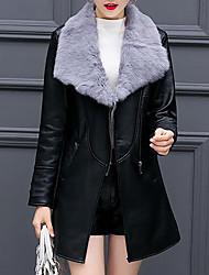 Feminino Jaquetas de Couro Casual Tamanhos Grandes Simples Outono Inverno,Sólido Longo Poliuretano Colarinho de Camisa Manga Longa