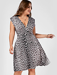 Women's Going out Casual/Daily Sheath Dress,Leopard V Neck Knee-length Sleeveless Polyester Summer Fall High Rise Inelastic Thin