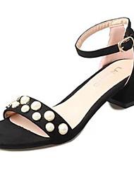 Недорогие -Для женщин Обувь Резина Лето Удобная обувь Сандалии Блочная пятка Пряжки Назначение Черный Желтый Красный