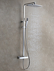cheap -Contemporary Modern Style Wall Mounted Rainfall Rain Shower Handshower Included Ceramic Valve Chrome, Shower Faucet