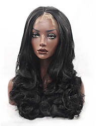Women Synthetic Wigs Lace Front Long Body Wave Black Middle Part Sew in Silk Base Hair Middle Part Halloween Wig Natural Wig Costume Wig