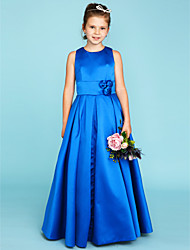 cheap -A-Line Princess Jewel Neck Floor Length Satin Junior Bridesmaid Dress with Flower(s) Sash / Ribbon by LAN TING BRIDE®