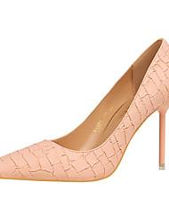 preiswerte -Damen Schuhe PU Sommer Herbst Komfort High Heels Stöckelabsatz Spitze Zehe Für Kleid Party & Festivität Schwarz Grau Rosa Mandelfarben