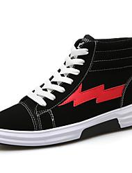 Homme Chaussures Tissu Eté Automne Confort Basket Lacet Pour Décontracté Noir et Or Noir/blanc Noir/Rouge