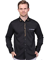 cheap -Men's Daily Work Plus Size Casual All Seasons Shirt,Solid Embroidery Shirt Collar Long Sleeves Polyester Spandex Medium