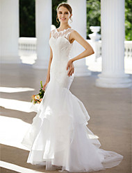 cheap -Mermaid / Trumpet Illusion Neck Sweep / Brush Train Lace / Tulle Custom Wedding Dresses with Appliques / Buttons / Tiered by LAN TING