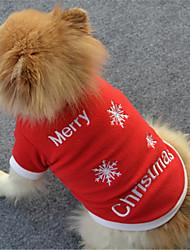Cane Felpa Abbigliamento per cani Casual Fiocco di neve Bianco Rosso