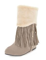 Women's Boots Comfort Novelty Winter Elastic Satin Fleece Wedding Party & Evening Dress Tassel(s) Wedge Heel Almond Brown Yellow Gray