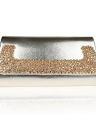 economico -Donna Sacchetti PU (Poliuretano) Pochette Dettagli con cristalli per Matrimonio Serata/evento Per tutte le stagioni Oro Nero Argento