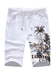 cheap -Men's Mid Rise Micro-elastic Slim Shorts Pants,Casual Print Cotton Spandex Summer Fall