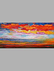 Ručně malované Abstraktní Horizontální,Abstraktní Jeden panel Plátno Hang-malované olejomalba For Home dekorace