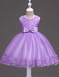 Princesse genou longueur robe fille fleur - satin sans manches cravate bijou par bflower
