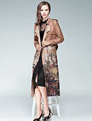 EWUS Women's Going out Work Street chic Fall Trench Coat,Print Shawl Lapel Long Sleeve Long Polyester