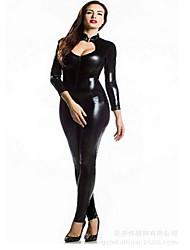 cheap -Women's Club Sexy Solid Sweetheart Bodysuit,Skinny ¾ Sleeve All Seasons PU