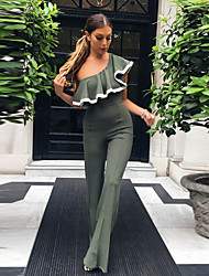 cheap -Women's Going out Street chic Solid Boat Neck Jumpsuits,Wide Leg Sleeveless Spring Summer Nylon