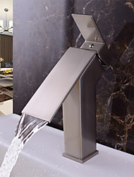 cheap -Contemporary Deck Mounted Waterfall Ceramic Valve Single Handle One Hole Nickel Brushed, Bathroom Sink Faucet