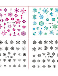 18pcs/Set Hot Fashion Xmas Colorful Snowflake Nail Art Water Transfer Sticker Cute Christmas Deer Snowman Water Transfer Decals Decoration STZ419-436