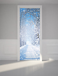 cheap -3D Winter Snow Scenery Door Mural Sticker Decorative 3D Snow Tree Door Stickers Mural Large Size 77*200cm For Living Kids Room Home Decoration