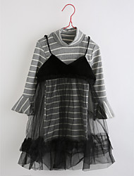 Girl's Daily Striped Dress,Cotton Fall Long Sleeve Stripes Light gray
