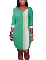 Damen T Shirt Kleid-Ausgehen Lässig/Alltäglich Einfach Street Schick Einfarbig V-Ausschnitt Übers Knie 3/4 Ärmel Polyester Frühling Herbst