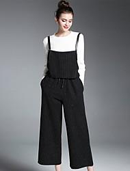 abordables -Mujer Chic de Calle Noche Otoño T-Shirt Pantalón Trajes,Escote Redondo Rayas Manga Larga Microelástico