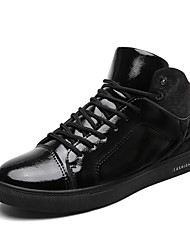 cheap -Men's Shoes Patent Leather Fall Comfort Sneakers Lace-up For Casual Outdoor Black