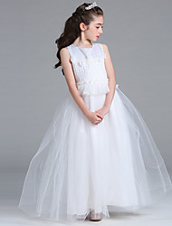 cheap -Princess Floor Length Flower Girl Dress - Satin Net Sleeveless Jewel Neck with Lace by Bflower