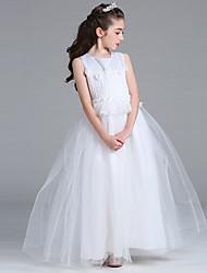 vestito dalla ragazza del fiore della lunghezza del pavimento della principessa - collo di raso sleeveless del nastro del raso con pizzo di bflower