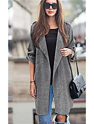 cheap -Women's Going out Street chic Fall Trench Coat,Solid Notch Lapel Long Sleeve Long Others