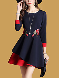 Women's Going out Casual/Daily Street chic A Line Dress,Embroidered Round Neck Mini Long Sleeves Polyester Spring Fall Mid Rise