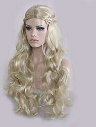 Women Synthetic Wig Capless Long Wavy Blonde Plait Hair Middle Part Cosplay Wig Costume Wig
