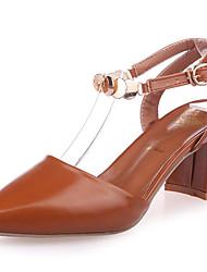 Damen Schuhe PU Sommer Komfort High Heels Blockabsatz Spitze Zehe Schnalle Für Normal Schwarz Beige Braun