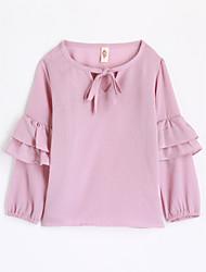 baratos -Para Meninas Camiseta Sólido Outono Algodão Manga Longa Rosa