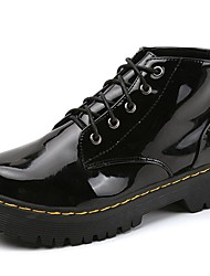 cheap -Women's Shoes Patent Leather Fall Winter Combat Boots Boots Low Heel Round Toe For Casual Black