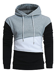 Men's Casual/Daily Simple Hoodie Color Block Hooded Micro-elastic Cotton Long Sleeve Fall