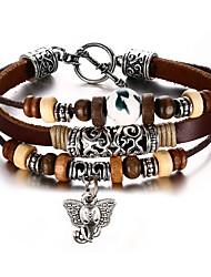 Недорогие -Муж. Жен. Кожаные браслеты Хип-хоп Рок Кожа Титановая сталь Круглый Бижутерия Для вечеринок День рождения Подарок