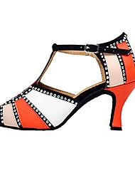 cheap -Women's Latin Shoes Leather Sandal Rhinestone Customized Heel Dance Shoes Orange / Red / Green / Indoor